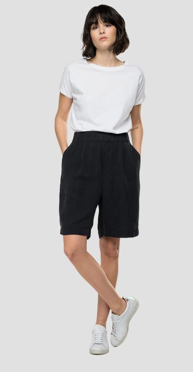 REPLAY Essential bermuda shorts in linen and viscose - Replay W8526_000_84059G_998_1