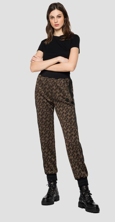 Trousers with jacquard logo - Replay W8530_000_52356_010_1