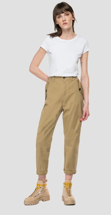 High-waisted tapered trousers with pockets - Replay W8543_000_84163_316_1