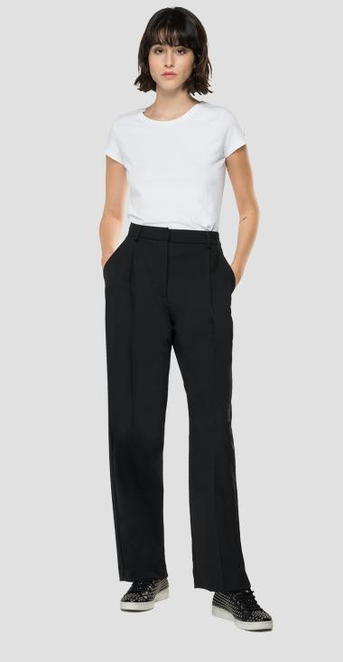 High-waisted straight fit wool trousers - Replay W8545_000_52443_020_1