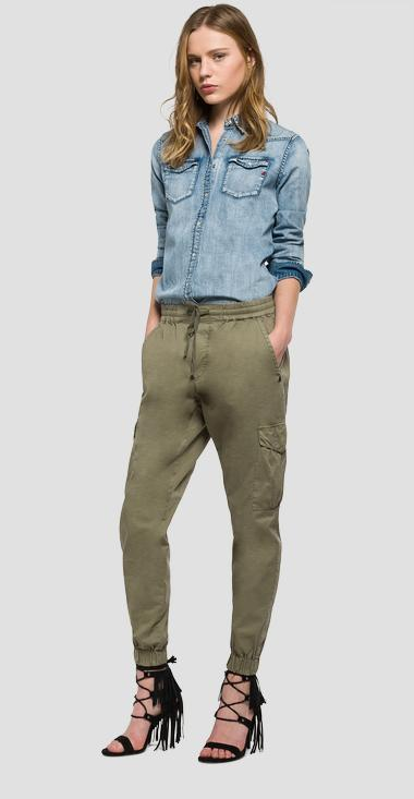 Cotton cargo trousers - Replay W8774_000_82760_574_1