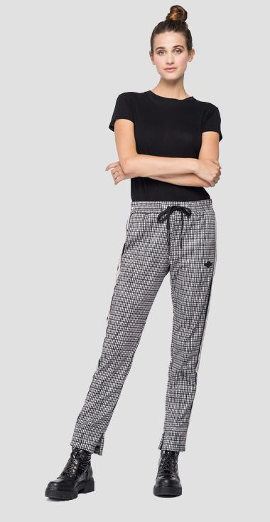 Trousers with all-over houndstooth print - Replay W8798D_000_72176_010_1
