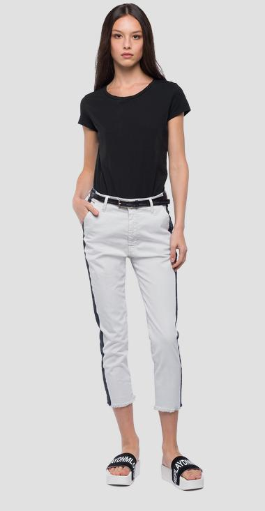 Chino trousers with stripe - Replay W8841_000_8085590_201_1