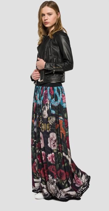 Long pleated skirt with print - Replay W9127B_000_71152_010_1