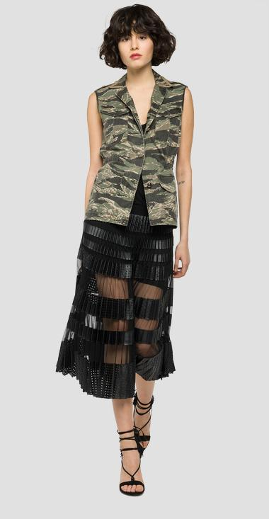 Long pleated faux leather skirt - Replay W9185_000_10182_098_1