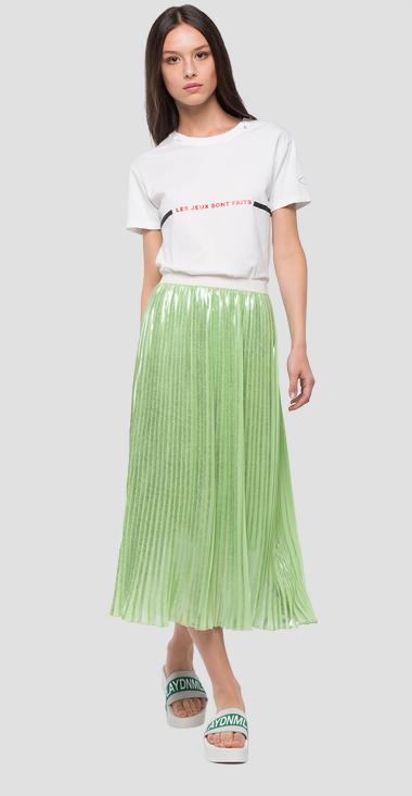 Pleated mid calf skirt - Replay W9190A_000_83368L_967_1
