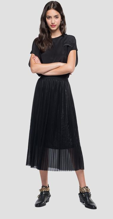 Pleated mid calf skirt - Replay W9190B_000_83368L_098_1
