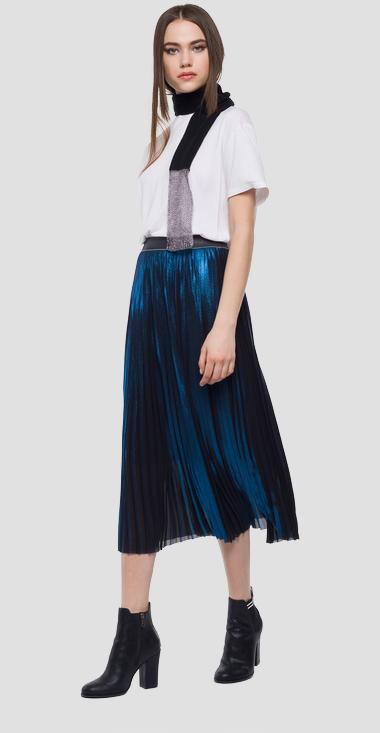 Laminated pleated mid calf skirt - Replay W9190_000_83224L_098_1