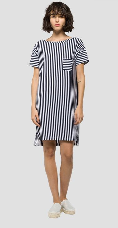 Vertical striped jersey dress - Replay W9195_000_50557_010_1