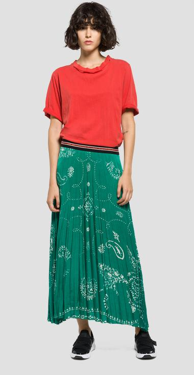 Long pleated skirt with faded print - Replay W9209_000_71226_010_1