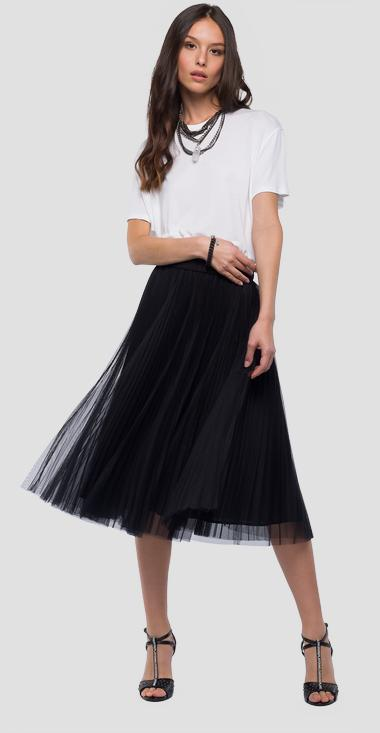 Midi skirt in pleated tulle - Replay W9229_000_80859_098_1