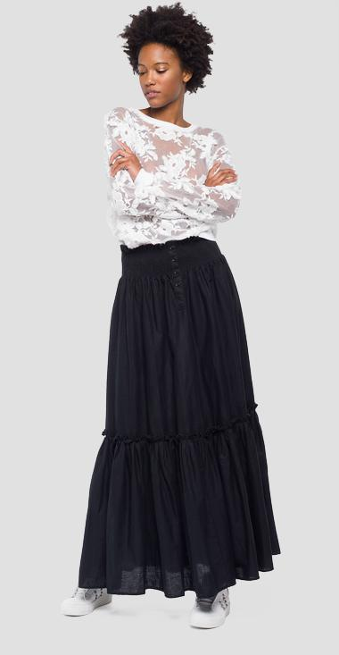 Maxi skirt with wrinkled motif - Replay W9272_000_83324_098_1