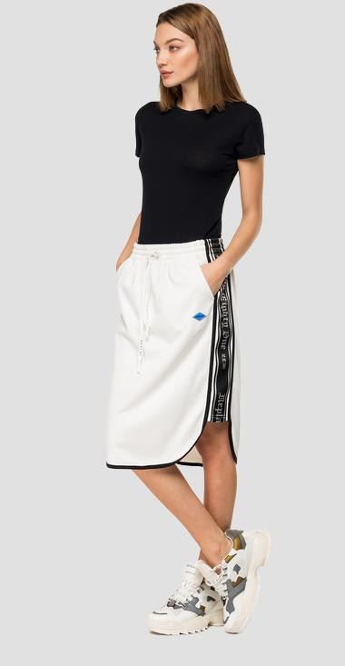 Skirt with side ribbons and print - Replay W9274_000_22610_801_1