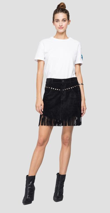 Suede mini skirt with fringes - Replay W9275_000_83988_010_1