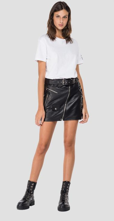 Leather mini skirt with belt - Replay W9279_000_83706B_010_1