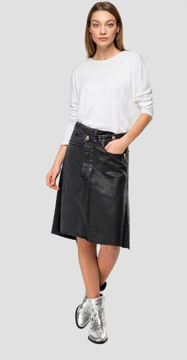 Denim skirt with double button - Replay W9308A_000_10264_098_1