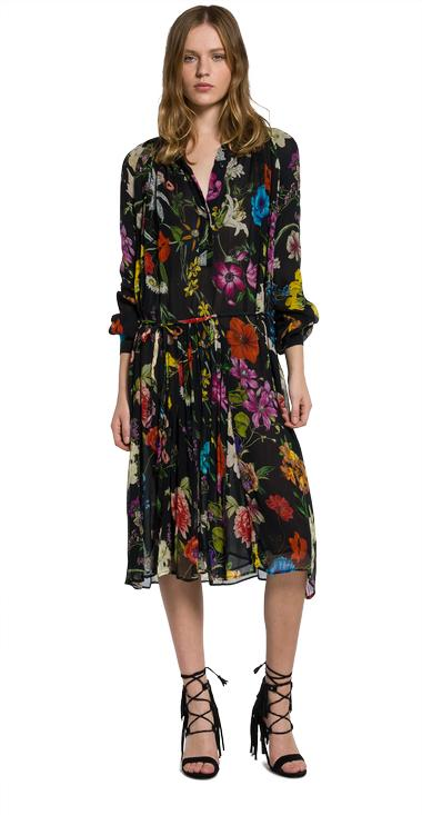 Floral-print viscose crepe dress - Replay W9324_000_71272_010_1