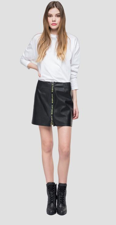 Eco-leather mini skirt with zipper - Replay W9328_000_82256_098_1
