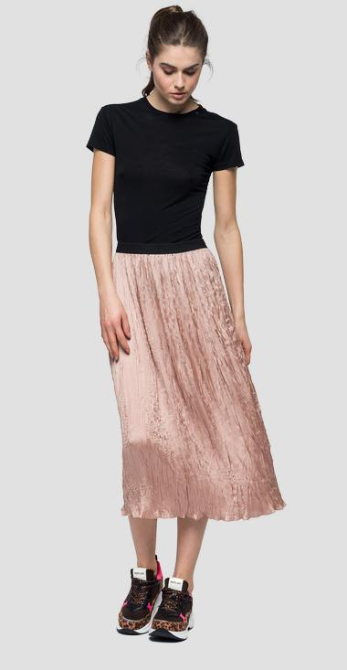 Mid calf skirt with crinkly effect - Replay W9346_000_82908S_265_1