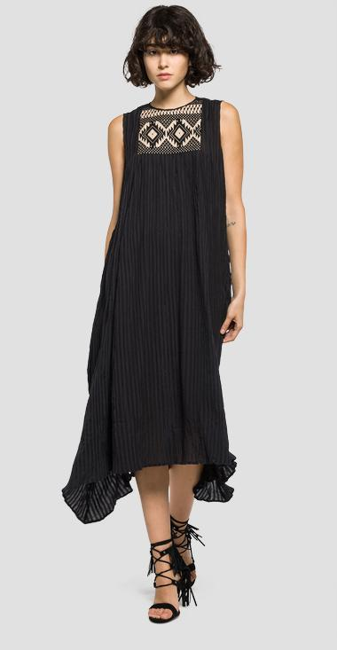 Embroidered cotton dress - Replay W9357_000_82328_098_1