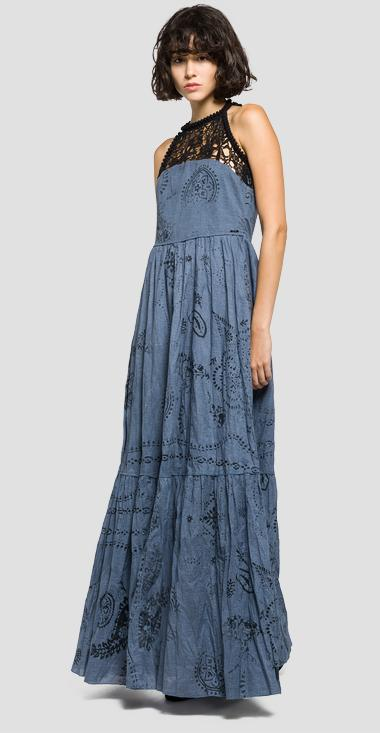 Perforated halterneck dress - Replay W9375_000_71172_030_1