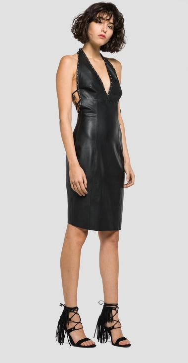 Studded faux leather dress - Replay W9378_000_82808_098_1