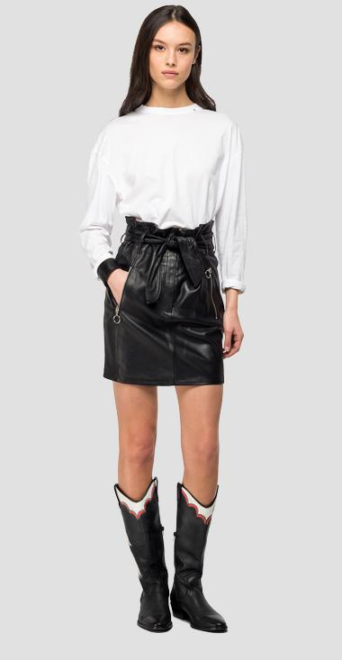 Short leather skirt with belt - Replay W9387_000_83254C_010_1