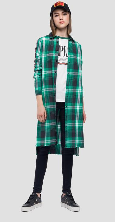 Oversized checked flannel shirt dress - Replay W9439_000_52054_010_1