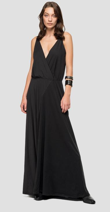 Long dress with V-neck - Replay W9475_000_22536P_099_1
