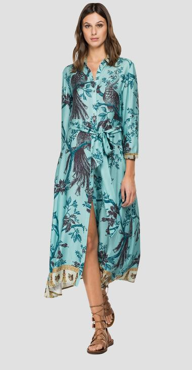 Viscose dress with all-over print - Replay W9561A_000_72294_010_1