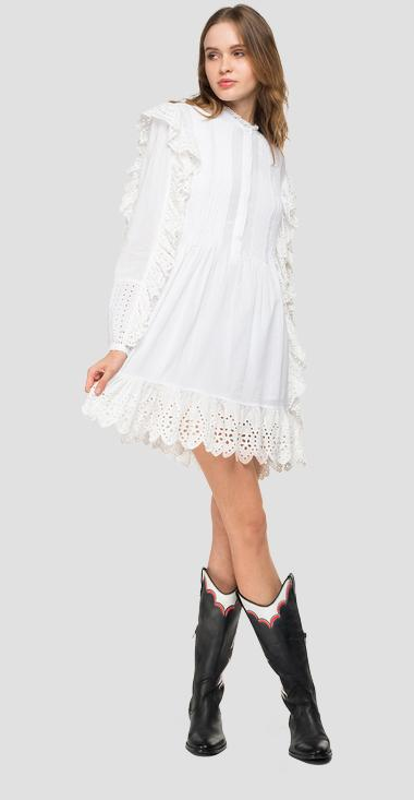 Midi dress with broderie anglaise - Replay W9571_000_83178_001_1