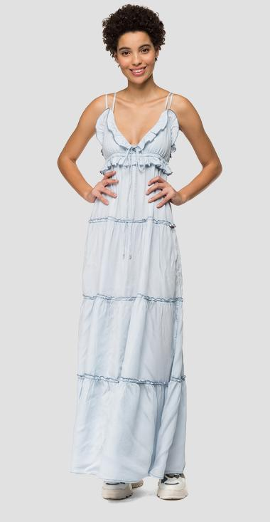 Long dress with denim frills - Replay W9578_000_54C-675_010_1