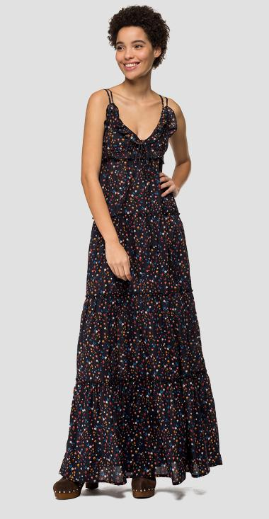 Long dress with floral frills - Replay W9578_000_71942_010_1