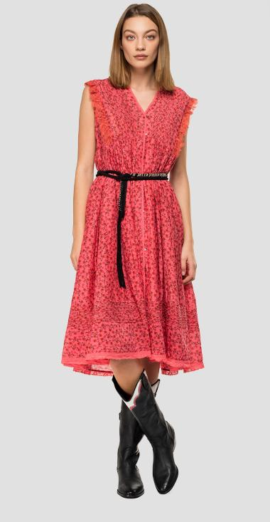 Dress with floral ruffles - Replay W9600_000_71952_556_1