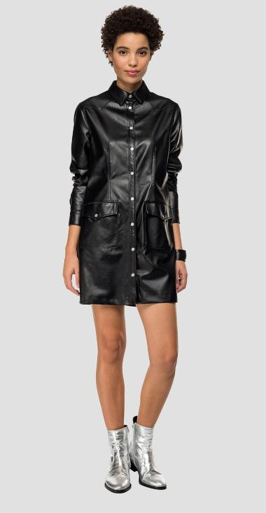 Eco-leather dress with pockets - Replay W9607A_000_80539_098_1