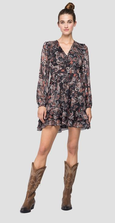 Dress with frills and all-over paisley print - Replay W9624_000_72154_010_1