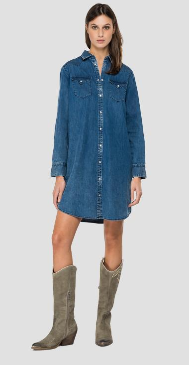 Denim dress with collar - Replay W9632_000_160-85A_009_1