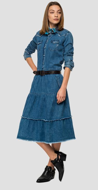 Long dress in fringed denim - Replay W9646_000_160-694_009_1