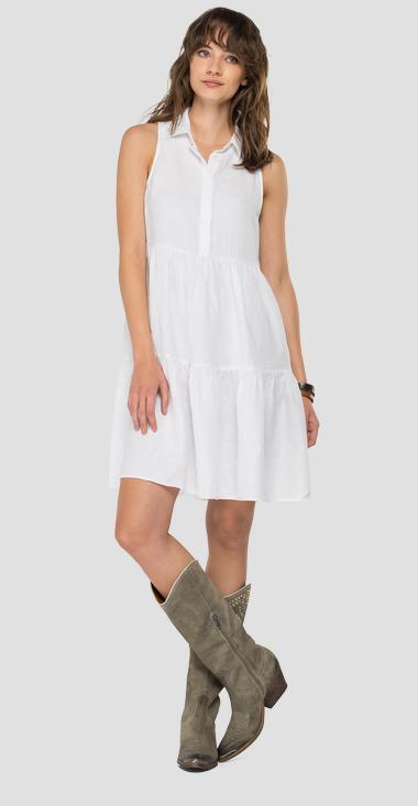 Essential sleeveless dress in linen - Replay W9672_000_84072G_001_1
