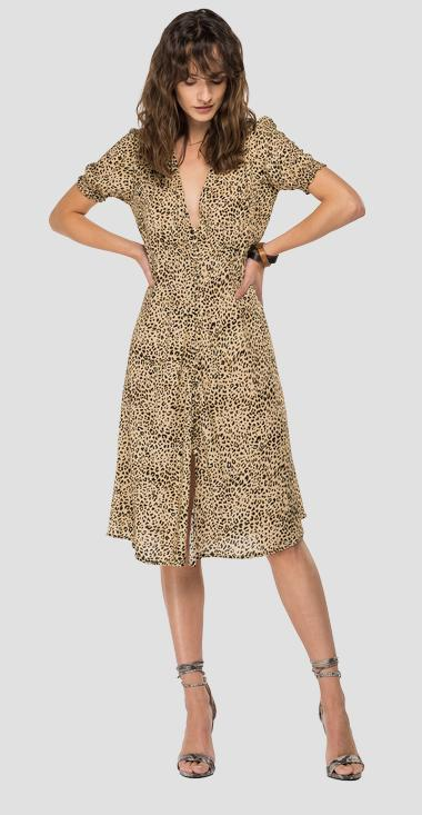 Robe en pure viscose imprimé animal all-over - Replay W9678A_000_73376_010_1
