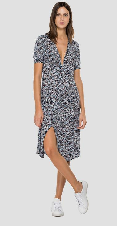 Midi dress with all-over boho print - Replay W9678A_000_73382_010_1