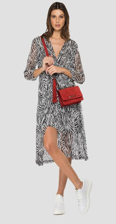 Georgette dress with all-over zebra-striped print - Replay W9680_000_73378_010_1
