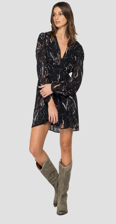 Balloon sleeve dress with all-over print - Replay W9681_000_73370_010_1