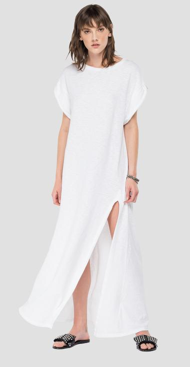 Long jersey dress with slit - Replay W9691_000_23114P_001_1