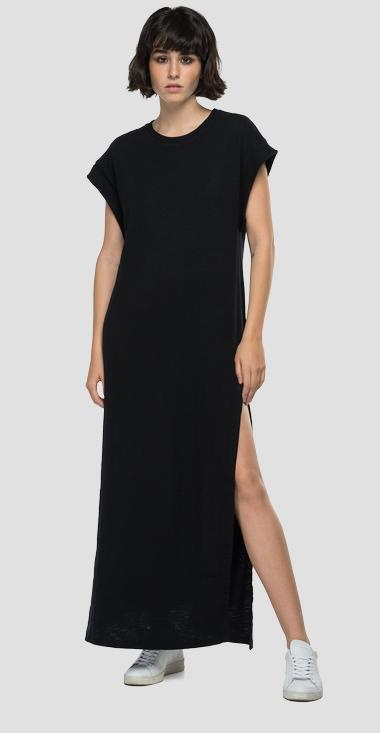 Long jersey dress with slit - Replay W9691_000_23114P_098_1