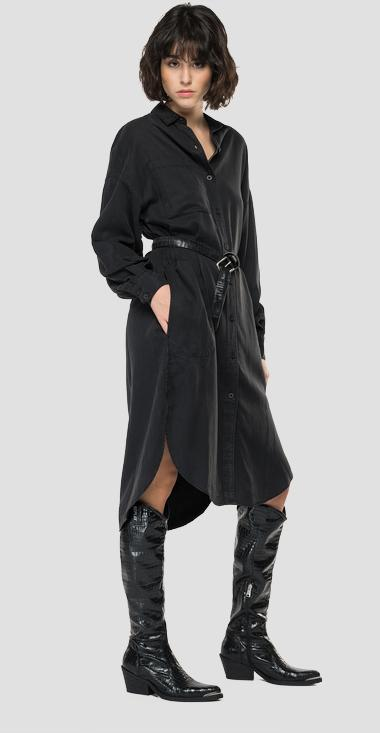 Essential Maxi shirt dress in Lyocell and linen - Replay W9702A_000_84078G_099_1