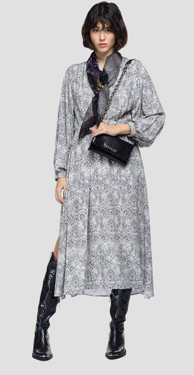 Dress with all-over paisley print - Replay W9707_000_73502_010_1