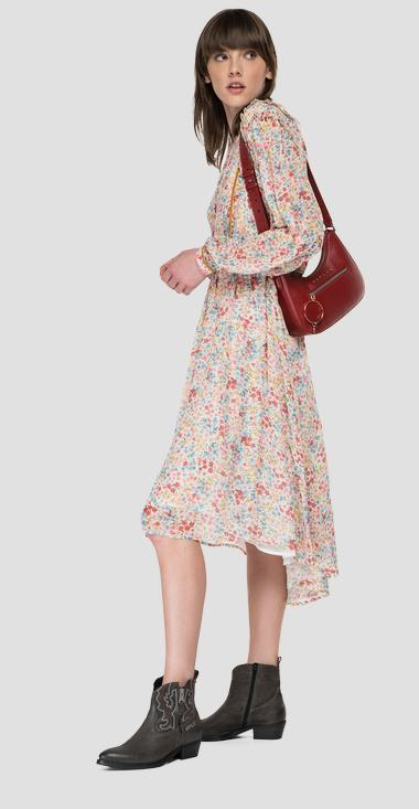 Georgette dress with all-over print - Replay W9708_000_73496_010_1