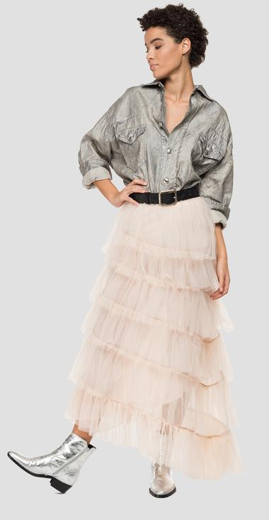 Long tulle skirt with frills - Replay W9802_000_22878_651_1