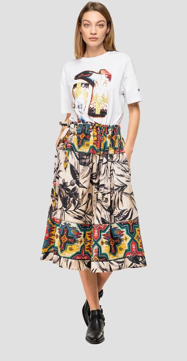 Skirt with ethnic and foliage print - Replay W9803_000_71940_010_1